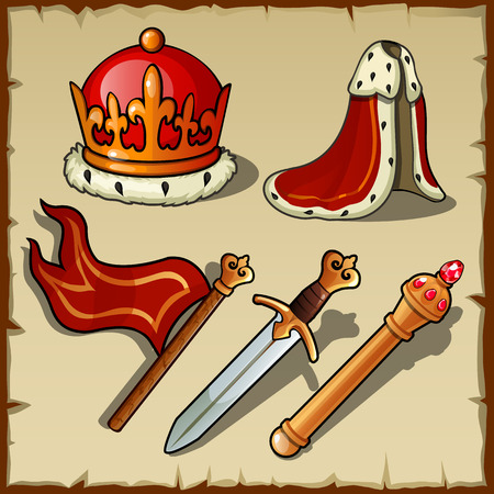 authority: Attributes of Royal authority and power, king vector set