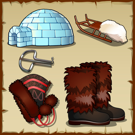 north pole: Set of equipment and clothing for the man at the North pole Illustration