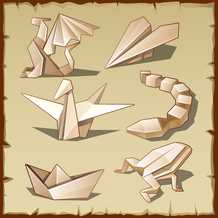snake origami: Various figures from paper, like the art of origami, vector set