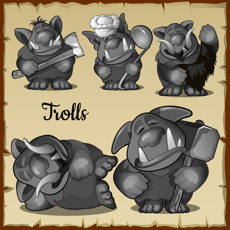fight hunger: Figurines scary funny trolls in a variety of five roles, vector set