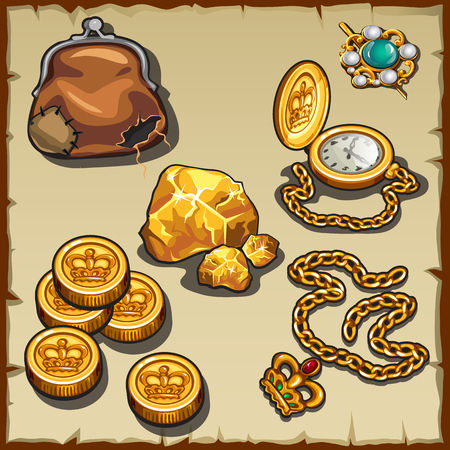 opulence: Royal collection of coins and jewelry, and old wallet