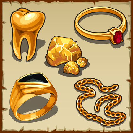 monies: Royal treasure of gold, jewelry and tooth, vector set