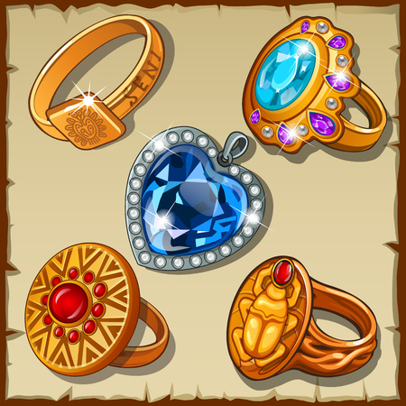 rubin: Classic and antique rings with symbols and precious stones Illustration