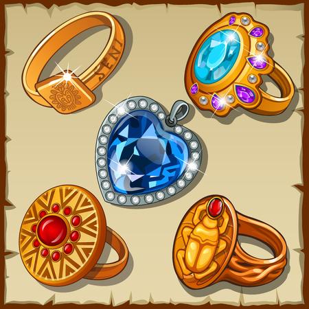 Classic and antique rings with symbols and precious stones Stock Illustratie