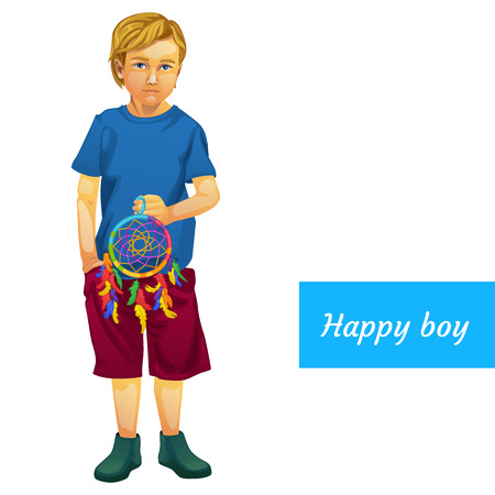 young schoolchild: Happy boy in summer clothes with Dreamcatcher, isolated character Illustration