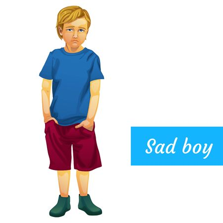 Droevige jongen in de zomerkleren, geïsoleerde vector karakter Vector Illustratie