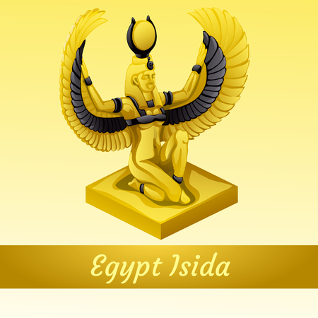 queen nefertiti: Vector monument is of the Egyptian Queen Isida in gold