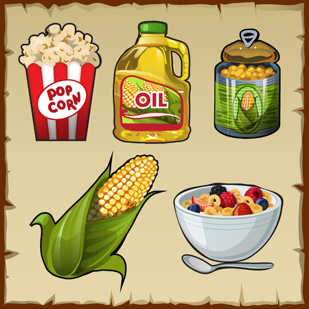 corn flakes: Corn and corn products, five vector varieties of food