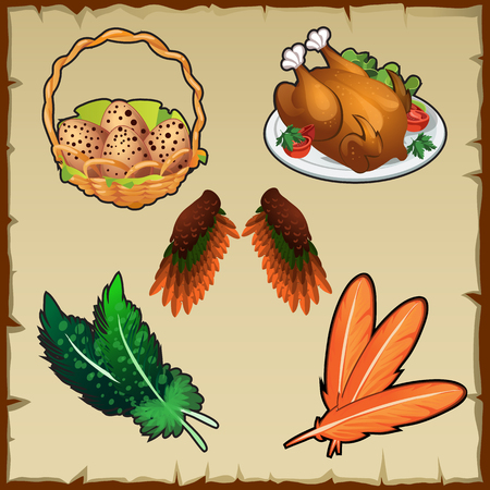 the attributes: Vector set poultry, eggs, and various symbolic attributes Illustration