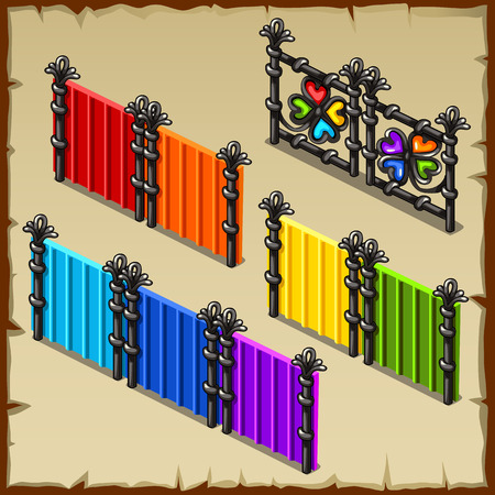 baroque gate: Colorful vector set of fences with forged elements