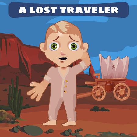 alarmed: Traveler lost on the Prairie with a broken cart, Wild West Illustration