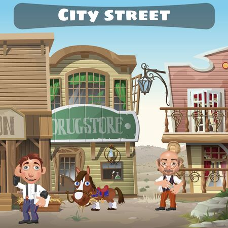 Usual city street in the wild West, two residents, houses, horse Ilustração