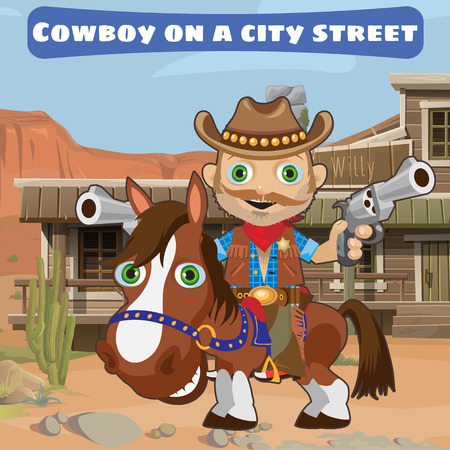wildcard: Cool cowboy with guns on a city street in Wild West