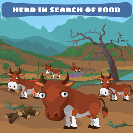herd: Herd of cows in search of food, natural landscape, vector Illustration