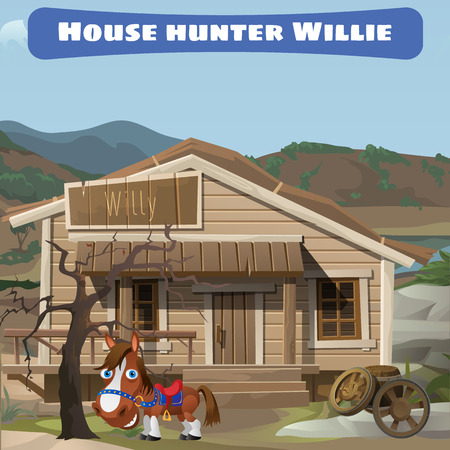 Wooden old house of the hunter and his horse, Wild West Illustration