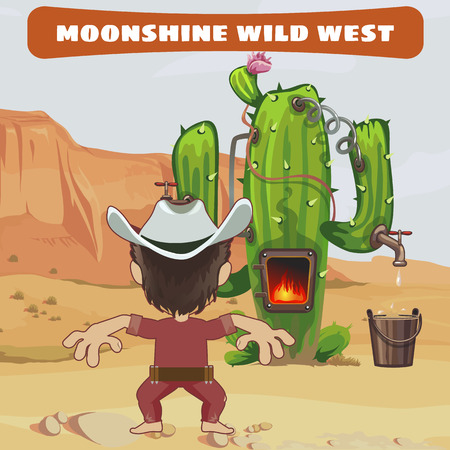 moonshine: Cowboy cook a moonshine of cactus in the wild West, vector card