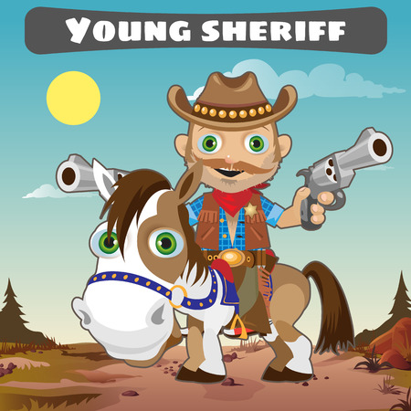 gunman: Young Sheriff on horse, character from wild West series