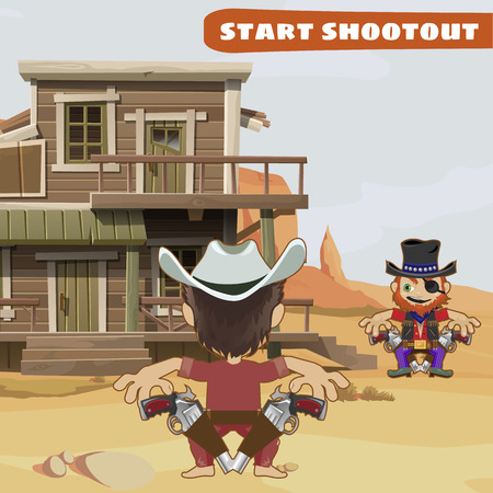 duel: Duel between two tough guys in the city, characters from wild West series Illustration