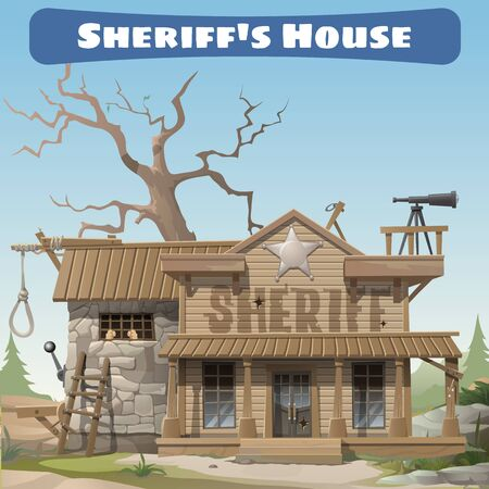 sheriffs: Sheriffs house, the representative of law in the wild West Illustration