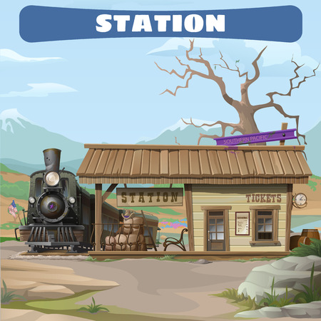 Station of the 19th century in the Wild West Imagens - 49495648