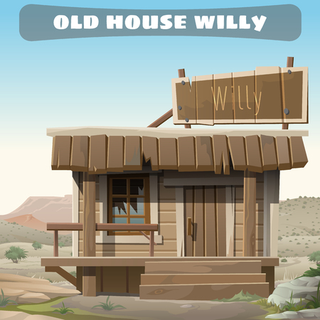 abandoned house: Old abandoned house of a cowboy in the wild West, vector card