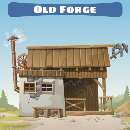 forge: Old forge in the wild West, story series vector card