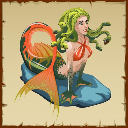 nude girl: Mermaid with snakes on her head, vector cartoon character