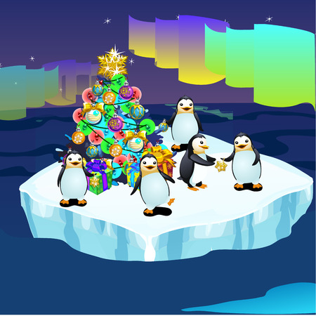 lug: Penguins at the North pole swimming in ice with a Christmas tree, greeting card