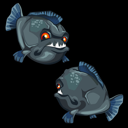 toothy: Toothy piranha painted front and back, vector round fish