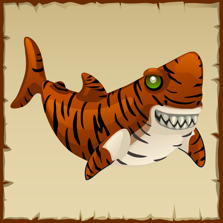 subaqueous: One evil fun tiger shark, vector cartoon character