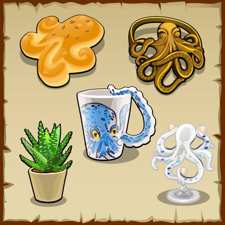 subtropics: Set of five items with the image or form of an octopus