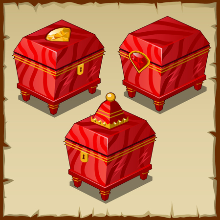 Red closed boxes, three Royal items on a parchment background