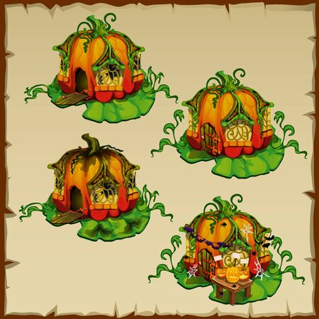 gnomes: Pumpkin houses where there live gnomes pumpkin, fun object Illustration