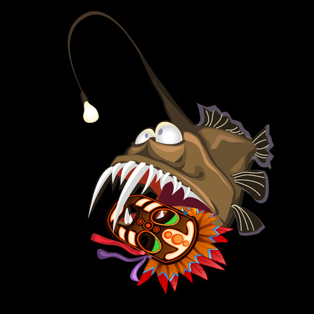 neon fish: Angler fish with indian mask on a black background, vector card Illustration