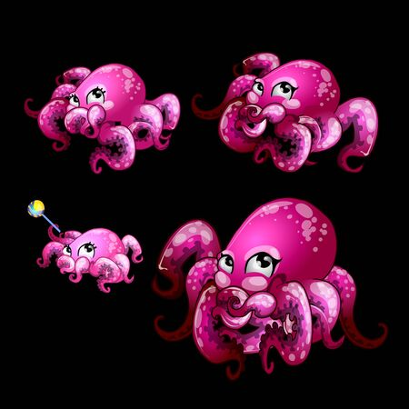 cuttlefish: Set pink cute octopuses on a black background, vector creature