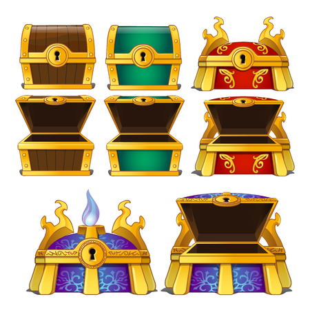 Vector set of wooden chests of different colors