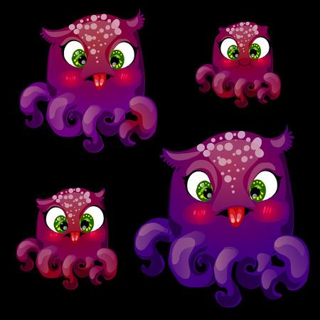 sea animals: Vector set of four cute playful purple octopus Illustration