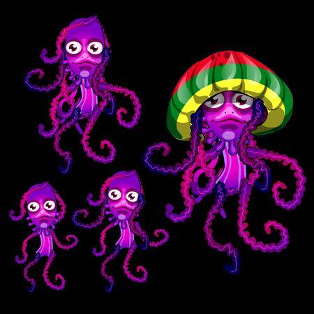 phosphorescence: Vector Set of four funny jellyfish Rasta, Rasta cap beret