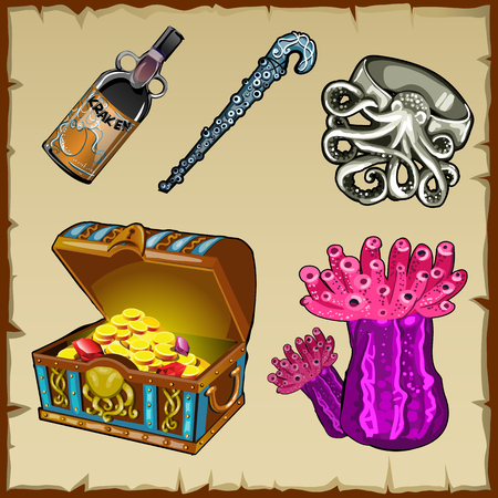 ring ruby: Vector set of underwater world objects and chest of gold