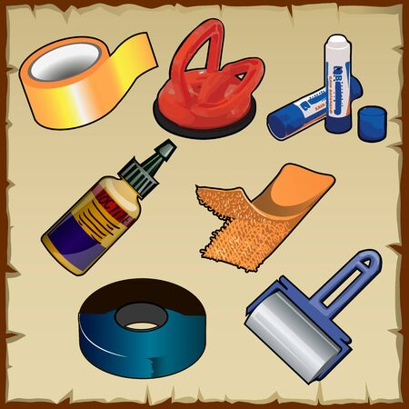 overhaul: Vector set of adhesive and sticking of materials and tools Illustration