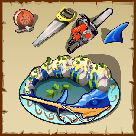 fishing line: Seafood, spool of fishing line, various saws and a sharks fin Illustration