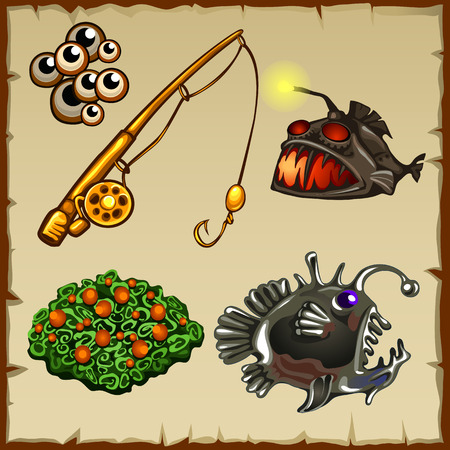 vegetation: Fishing rod, bait, assorted deep-sea fish and vegetation