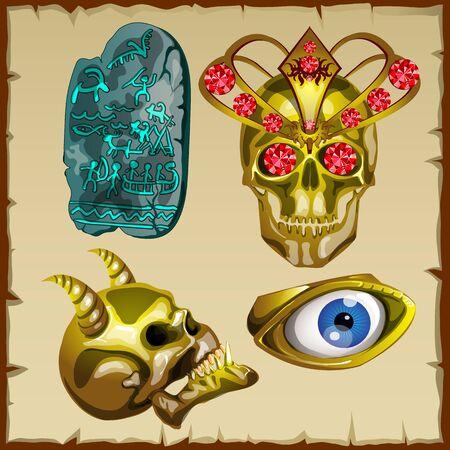 Vector set of ancient treasures, skull and ornaments