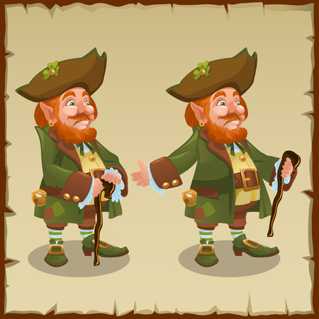 folk tales: Two vector images one of leprechaun with clover Illustration