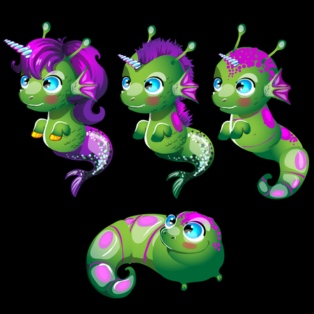 green fish: Cute characters unusual green fish unicorns, four character