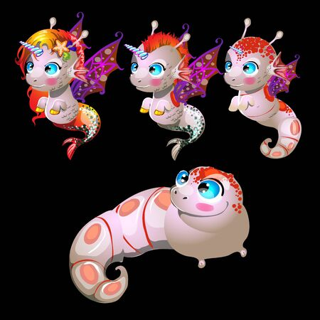 Fish unicorns with wings, male and female characters