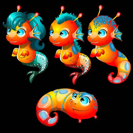 Vector set, four bright sea creatures male and female Ilustração