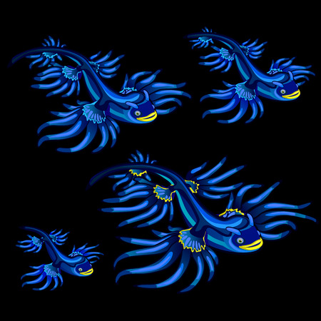 blue fish: Colorful blue tropical fish with yellow fins, vector set