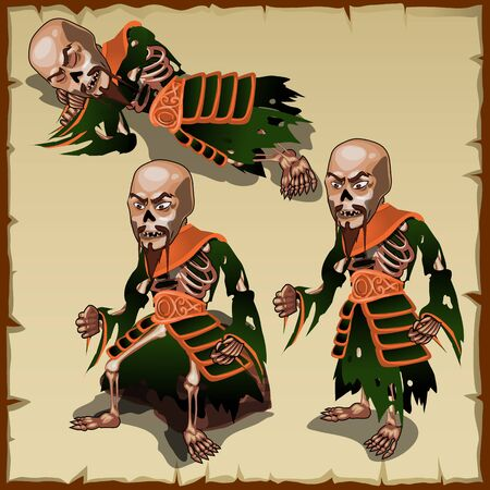 devil's bones: Asian zombies in different physical postures, one man and three pose