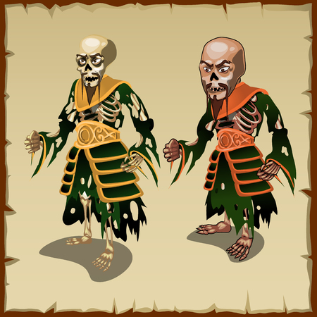 rags: Two vector Asian zombies in the traditional rags costumes Illustration